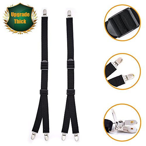 Gripper Strap (Luxsego 2Pcs Shirt Stays for Men & Women, Y-Style Adjustable Elastic Garter Belts with Non-slip Locking Clamps for Suit, Dress or Uniform Including Military or Police)