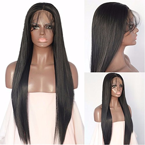 Sapphirewigs Black Color Straight Type Kanekalon Futura Hair No Tangle Blogger Women Valentine's Day Gifts Daily Makeup Synthetic Lace Front Wigs With Baby Hair