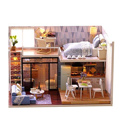 Poupées En Bois BRICOLAGE Maison Miniature Kit Bonheur Maison Decor Enfants  Jouet Décoration Maison Miniature Assemblé