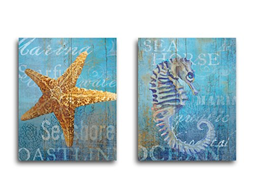 Portfolio Canvas Decor Seahorse and Sea Crop by Ali Zoe Wrapped/Stretched Canvas Wall Art, 16 x 20 (Bed Four Poster Pine)