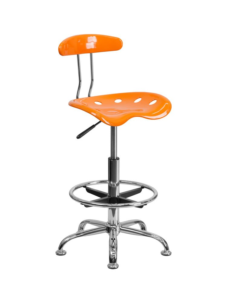 Offex Contemporary Sleek Vibrant Orange and Chrome Drafting Stool with Tractor Seat