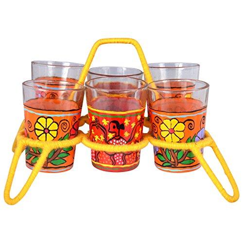 Kaushalam Cutting Chai Glasses with Stand, Transparent Tea Glass Set of 6