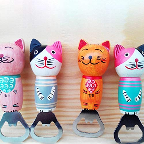 Beer Open - 1 Pcs Cartoon Hand Painted Cat Wood Beer Bottle Opener Decorative Refrigerator Magnets Can Wine - Black Cat Holder Corkscrew Beer Beer Bottle Wine Bucket Ball Toy Wine Cat Corks ()