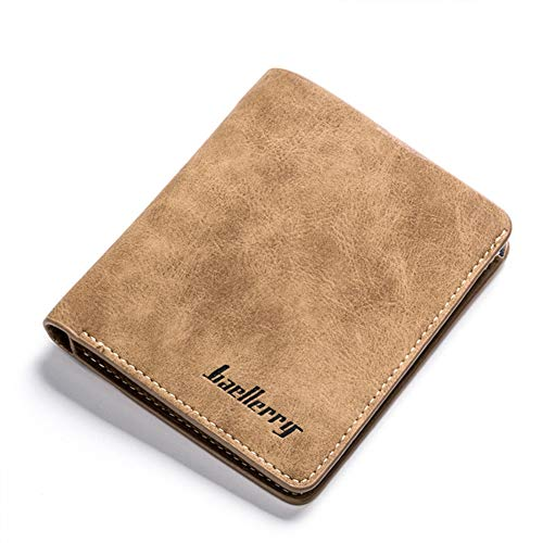 Badiya Retro Nubuck Leather Thin Vertical/Horizontal Bifold Wallet Card Holder
