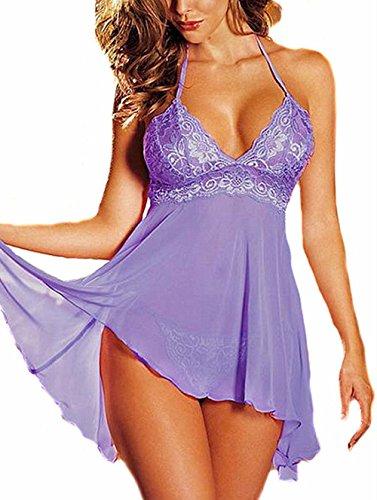 Fashion Women Sleepwear Plus Size Mini Dress Lingerie Set Lace Nightwear Purple 2XL