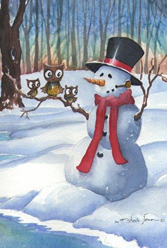 Toland Home Garden Snowman Owls 12.5 x 18 Inch Decorative Wi