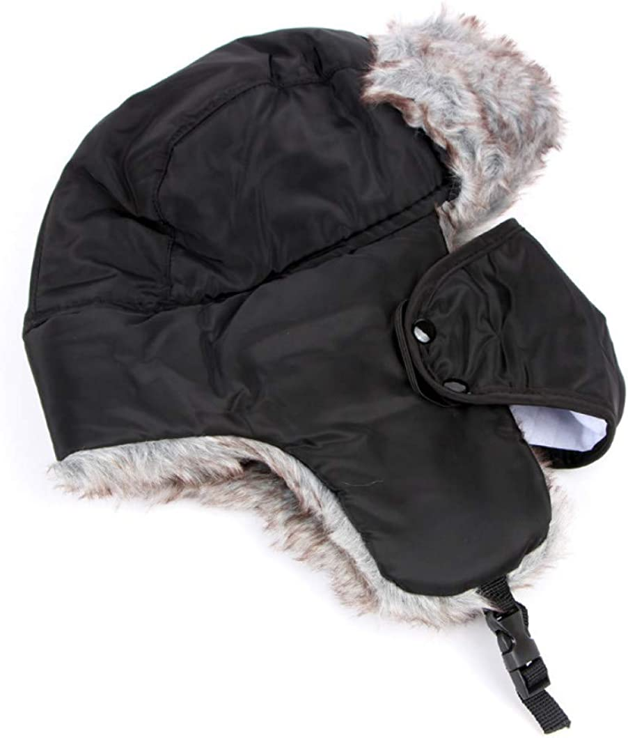 Mens Ear Face Protection Fluffy Bomber Hat Thicken Windproof Cold Resist Snow Cap