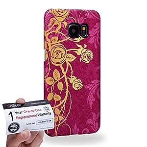 Case88 [Samsung Galaxy S7 Edge] 3D impresa Carcasa/Funda dura para & Tarjeta de garantía - Art Aztec Assorted Design Pink & Yellow Rose Pattern