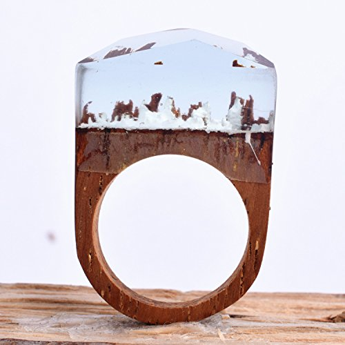 Heyou Love Handmade Wood Resin Ring With Blue Sky Landscape Inside Jewelry by Heyou Love (Image #4)