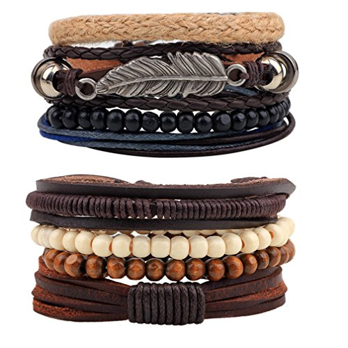 MJartoria Unisex Leather Hemp Cords Beaded Multi Strands Wrap Bracelets Set Pack Of 2