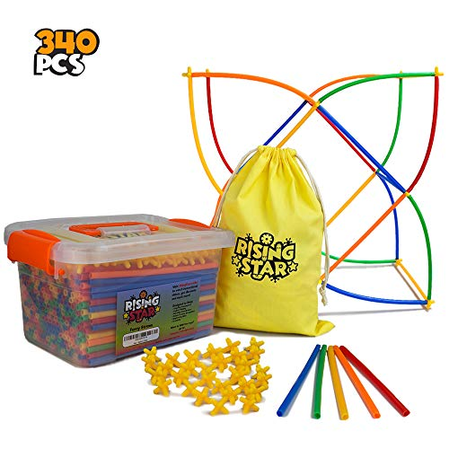 (RisingStar Interlocking Toys - Educational Straw Building Blocks for Boys and Girls - Safe and Fun Straws and Connectors Set - Colorful Construction Builders for Motor Skills Development - 340)