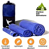 """MICROFIBER QUICK DRY TOWEL you will ever need - Set of 3 towels with 35""""x70"""" + 20''x40'' + 8''x8'' – Super Absorbent, Compact and Soft - Best for camping, travel, sports, beach, gym, backpacking"""
