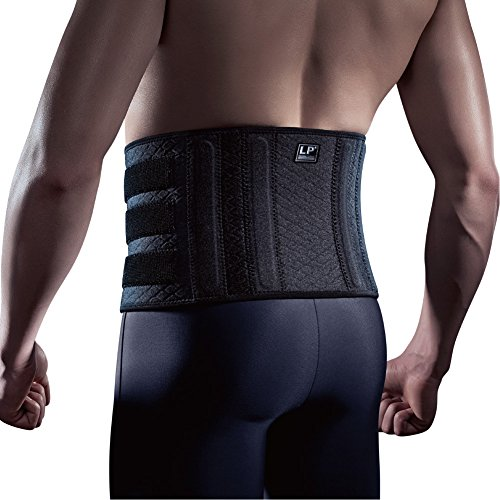 LP SUPPORT 727CA Extreme Back Support with Stays - Compression Support for Lumbar/Lower Back - Hook and Loop Closure (Black - Free Size) ()