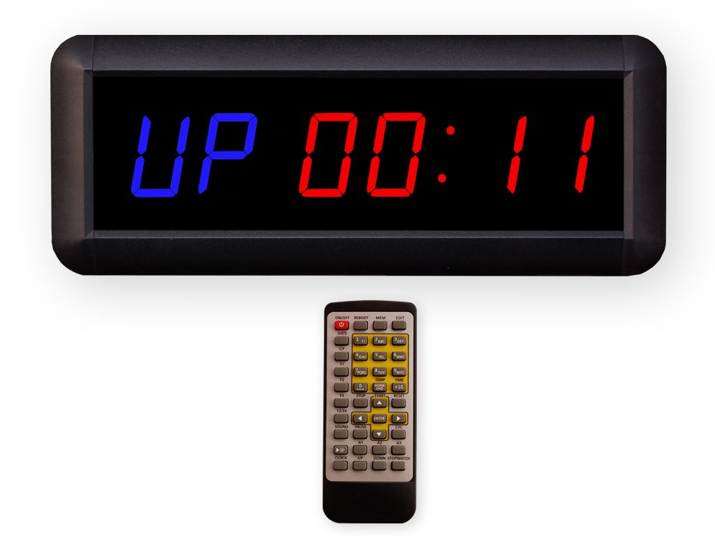 Eu 1.5'' 6 Digits Interval Timer Programmable Led Countdown/Up Stopwatch For Home Garage Gym. (Blue/Red) by EU DISPLAY