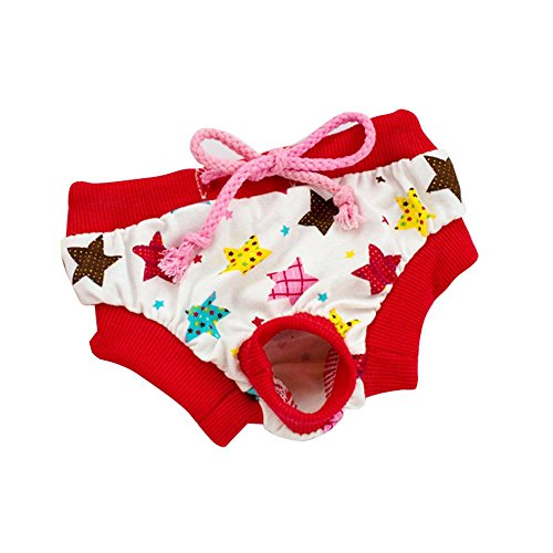 Female Red Star Dog Physical Pant Pet Underwear Pants Elastic Diaper Cute Female Pet Dog Physiological Menstrual Cotton Hygiene Pants Cute Pet Dog Panty Brief Bitch Sanitary Pants For Girl (Red, M)