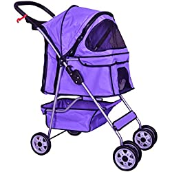 4 Wheels purple pet stroller cat dog cage stroller travel folding carrier