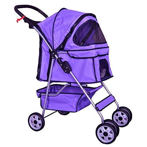 BestPet Pet Stroller Cat Dog Cage Stroller Travel Folding ()