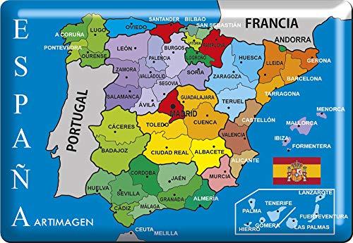 Artimagen Imán Mapa Provincias España 80x55 mm. Resina ...