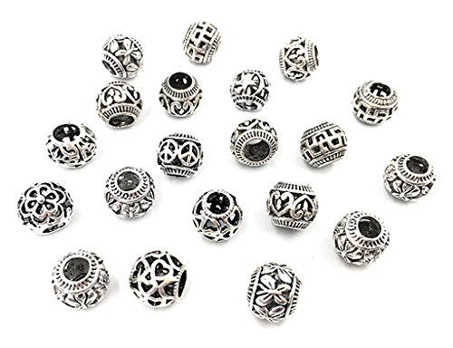 (20pcs Alloy Filigree Beads,Hollow out Ball Spacer Charm European Beads Pendant for DIY Necklace Bracelt Jewelry Making Findings(Tibetan Silver Tone,Assorted Patterns))