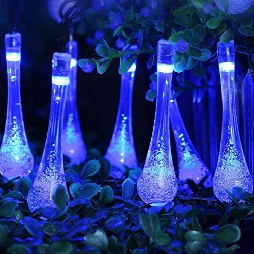 FZZ698 String Fairy Lights Outdoor Garden Party 30 LED Raindrop Teardrop Solar Home and Garden Powered (blue) from FZZ698