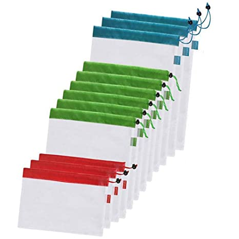 Amazon.com: Juego de bolsas de malla reutilizable, ligeras ...