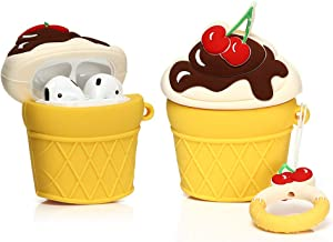 LEWOTE Airpods Silicone Case Funny Cute Cover Compatible for Apple Airpods 1&2[Dessert Ice Cream Series][Best Gift for Girls Boys or Couples] (Cherry Ice Cream)