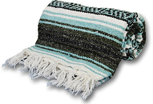 YogaAccessories Extra Heavy Mexican Yoga Blanket - Turquoise