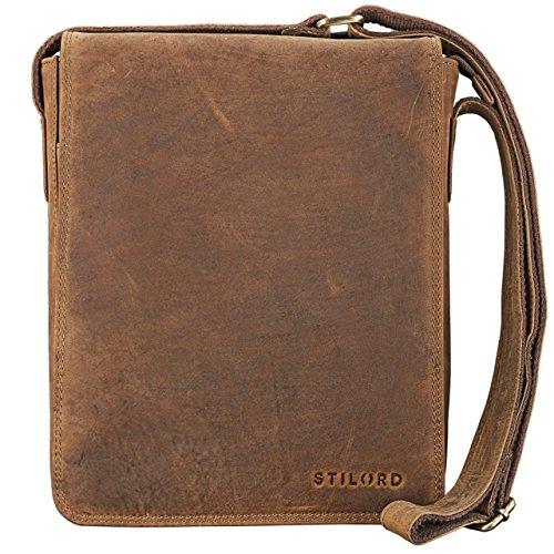 STILORD 'Joris' Messenger Bag Leder braun Umhängetasche mittelgroß 10,1 Zoll Tablettasche für iPad Vintage Schultertasche Rindsleder mittelbraun