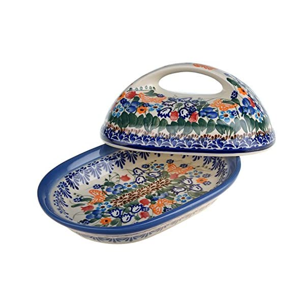 Classic Boleslawiec Hand Painted Stoneware Butter Dish with lid 331-U-099