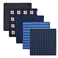 PenSee Men's Hankerchief Set 5 Pieces Assorted Men's Accessory Pocket Square-Various Styles