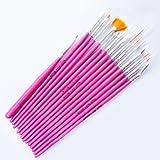 So Beauty 15pcs Pink Nail Art Tools Paint Dot Draw Pen Brush Set