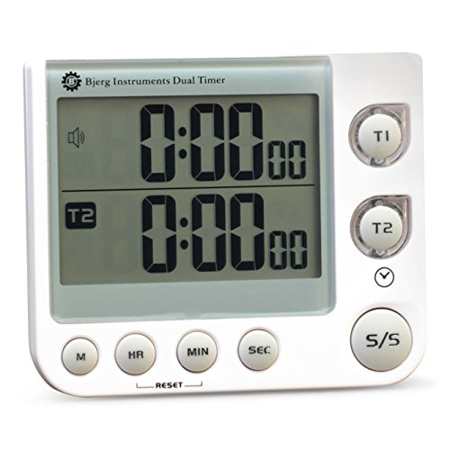 Bjerg Instruments Dual Digital Kitchen Count Up and Countdown Timer with Large Digit LCD Display
