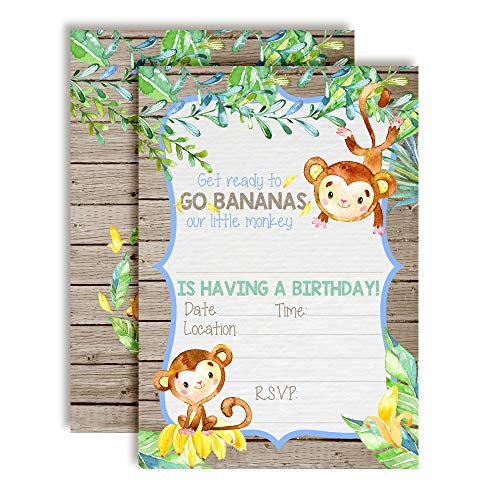 Go Bananas Our Little Monkey Watercolor Jungle Birthday Party Invitations for Boys, 20 5
