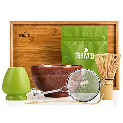 Tealyra - Matcha Kit - Connoisseur Ceremony Start Up Set - Premium Matcha Tea Powder - Japanese Made Red Bowl - Bamboo Whisk Scoop and Tray - Holder - - Set Connoisseur Gift