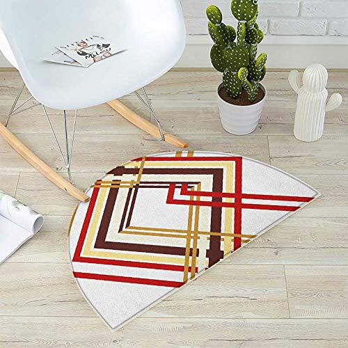 Modern Semicircular Cushion Retro Style Diamond Like Border Lined Geometrical Artwork Design Entry Door Mat H 31.5