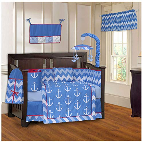 BabyFad Anchor Chevron Zig Zag 10 Piece Baby Crib Bedding Set