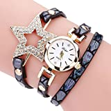 Women Watches Mosunx(TM) Fashion New Girl Watches Charm Wrap Around Leatheroid Quartz Wrist Watch Girlfriend Gift