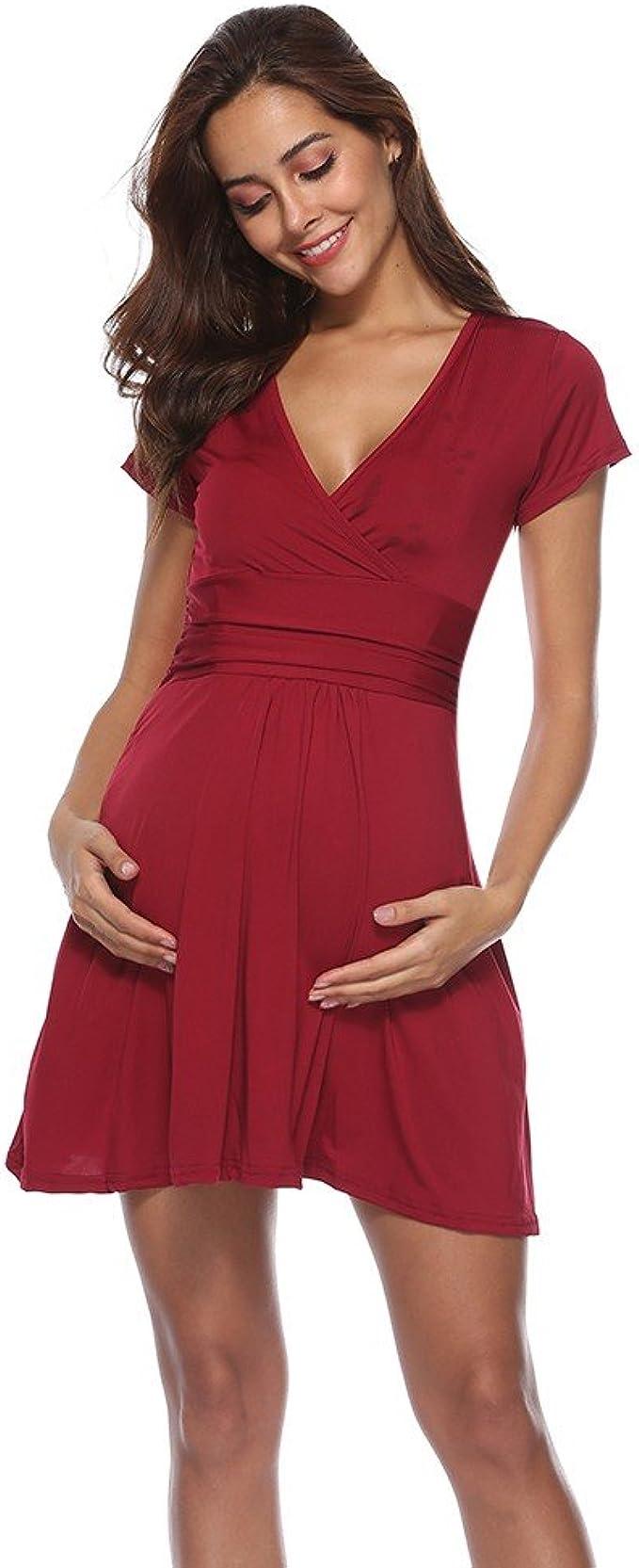iLPM18 Frauen Mutterschaft Kurzarm Bequeme Pflege Nachthemd Stillen