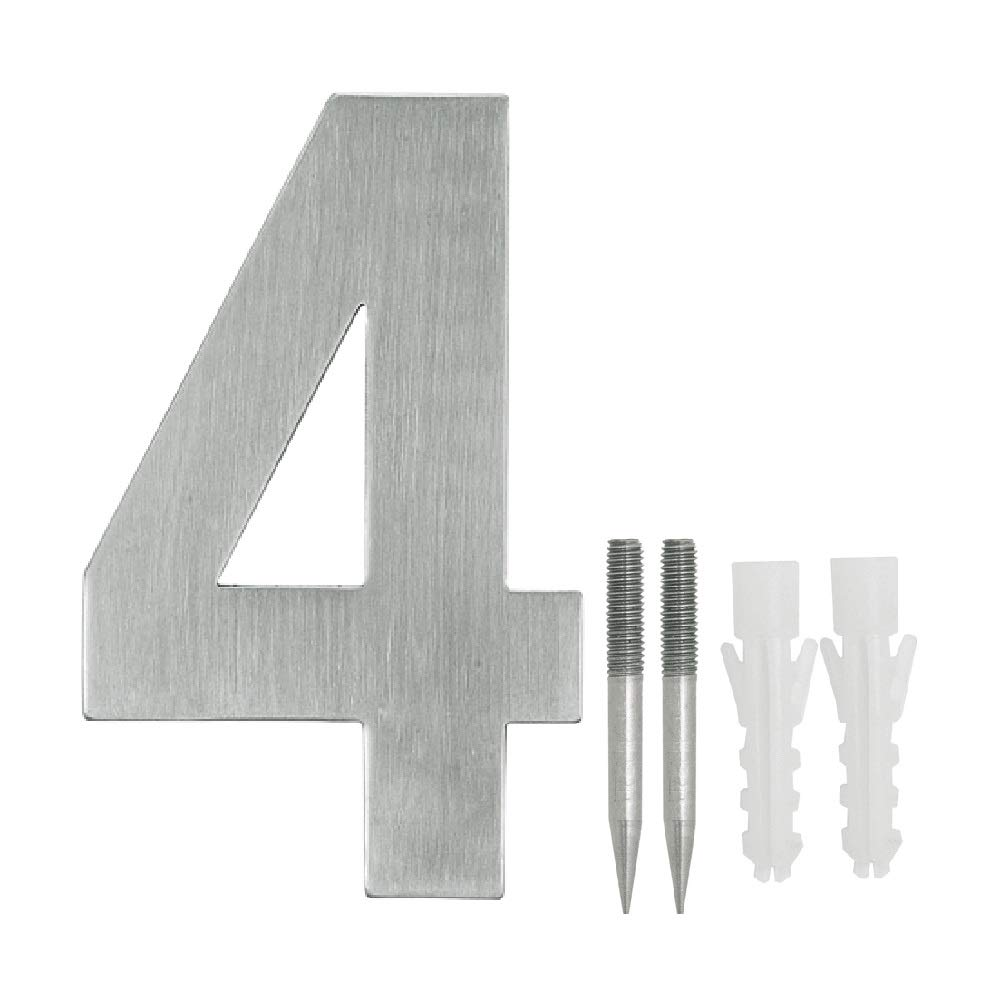 NUZAMAS Door Numbers Plaques 4, Stainless Steel Hotel House Address Plaque Digits Plate Signs Street Numbers, Wall Mounted, 10.8cm Width 15cm High, Installation Kit Included