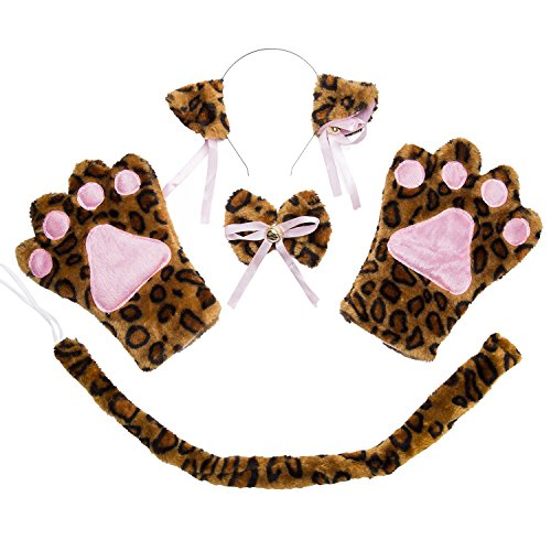 [Costume Cat Cosplay Set - 4Pcs Kitten Tail Ears Collar Paws Gloves Lolita Gothic Set ( Leopard)] (Leopard Costumes Adult)