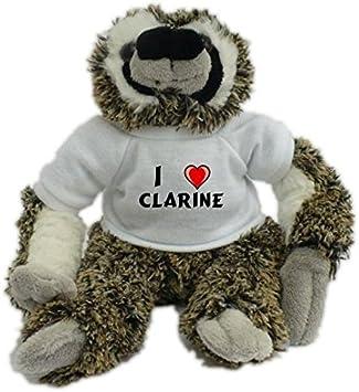 Bradypus de peluche con Amo Clarine en la camiseta (nombre de pila/apellido/apodo)