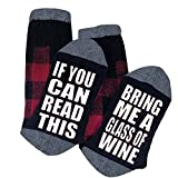 Funny Saying Knitting Word Combed Cotton Crew Wine EggnogBeer Socks for Men Women WHEN YOU STOP BELIEVING, YOU GET SOCKS IF YOU CAN READ THIS, BRING ME A GLASS OF WINE IF YOU CAN READ THIS, PLEASE BRING MORE WINE IF YOU CAN READ THIS, BRING...