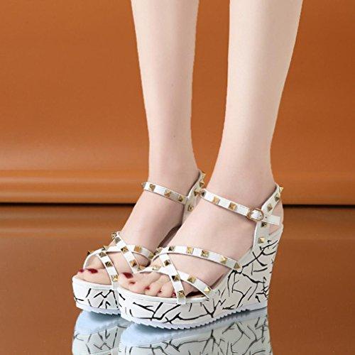 Talon Rivets Mode Hauts Élégant Chaussures Tongs Sandales Rouge Talons dame Beautyjourney Massantes Wedge Femmes Blanc RWUq0E
