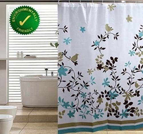 Blu-Pier Decorative PEVA Mildew Free Water Repellant Shower Curtain 72x72 Comes with 12 Hooks (Birds...