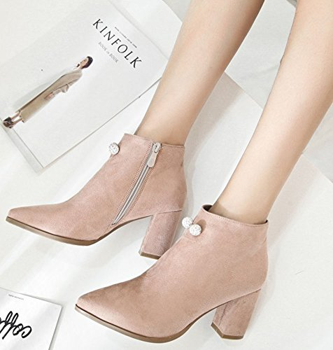 With Pointed High IDIFU Ankle Chunky Zip Booties Up Sweet Womens Apricot Faux Suede Toe Short Heels 7BAY7q