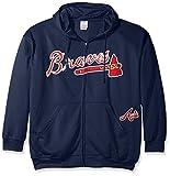 MLB Atlanta Braves Men's Full Zip Poly Fleece with Wordmark Chest with Logo near Pocket, 3X, Navy