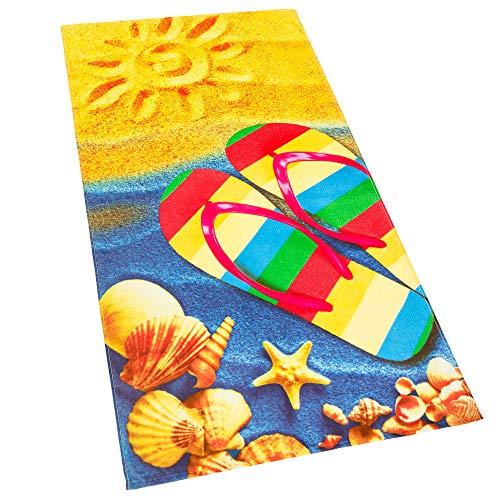 (Softerry Sandals Flip Flop Sunny Beach 30 x 60 inches Beach Towel 100% Cotton)