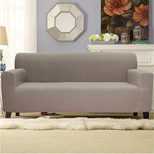 Sweet Home Collection Sally Form Fit 4 Way Stretch Furniture Sofa Polyester Slipcover, Taupe,Sofa