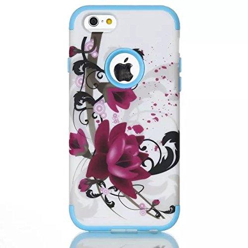 iPhone 6 Case , iPhone 6S Case, Lantier antichoc Case hybride triple couche de protection en plastique dur avec Housse silicone souple pour Apple iPhone 6 / 6S 4,7 pouces (Violet Flower Bleu)