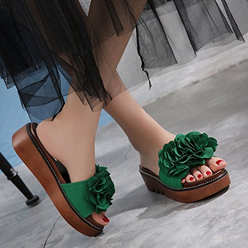 FEI Mules Female summer fashion slippers Thick slippers Female outdoor sandals for 18-40 years old Sandals Casual (Color : Green, Size : EU38/UK5.5/CN38) Green